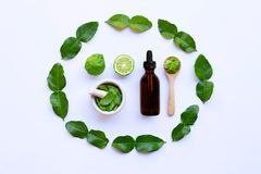 Bottle of essential oil and fesh Bergamot fruit with leaves isolated on white. Background royalty free stock images