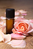 Bottle of essential oil and rose petals Royalty Free Stock Photos