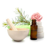 Bottle essential oil and spa salt isolated Royalty Free Stock Photos