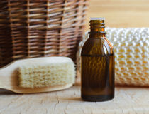 A bottle of essential oil and toiletries Stock Image
