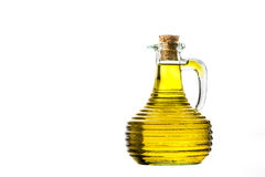 Bottle of extra virgin olive oil isolated. Transparent bottle of extra virgin olive oil isolated on white background Stock Images