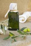 A bottle of extra virgin olive oil. Stock Photos