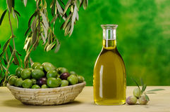Bottle of extra virgin olive oil Stock Photo