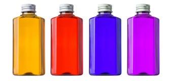 bottle för banavatten för clippingen exponeringsglas isolerad mineralisk white Arkivfoto