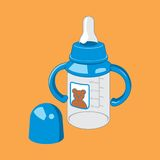 Bottle feeding babies. Icon. Vector illustration. Baby feeding bottle on a brown background. Icon. Vector illustration Stock Photography