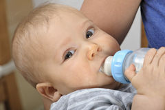 Bottle feeding baby Royalty Free Stock Image