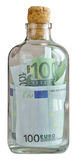 Bottle filled with euro. And capped Stock Photo