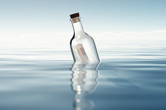Bottle with financial statements. 3D render of bottle in ocean Royalty Free Stock Photography