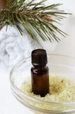 Bottle of fir tree oil and salt Stock Image