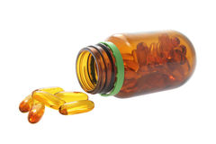 Bottle of Fish Oil Capsules Stock Photography