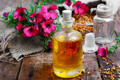 Bottle of flax oil Stock Photo