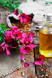 Bottle of flax oil Stock Photos