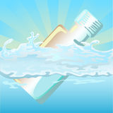 Bottle float on water. Bottle floating on the blue water, with sunlight background Royalty Free Stock Photos