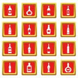 Bottle forms icons set red Royalty Free Stock Image