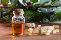 A bottle of frankincense essential oil with frankincense resin. And spruce and holly branches in the background Royalty Free Stock Photo