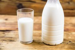 Bottle of fresh farm milk and glass of milk on wooden background. Side view. Stock Images
