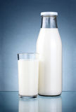 Bottle of fresh milk and a glass  Royalty Free Stock Photos