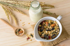 Bottle of fresh milk with Oat and whole wheat grains flake Stock Photo