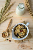 Bottle of fresh milk with Oat and whole wheat grains flake Royalty Free Stock Image