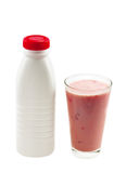 Bottle with fresh strawberry yogurt Stock Photos
