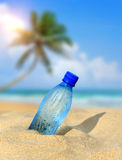 Bottle of the fresh water on sand Royalty Free Stock Photography