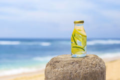 Bottle of freshness water with cucumber and lemon. And ocean background Royalty Free Stock Photos