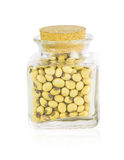Bottle full of Soybeans Stock Images