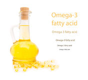 Bottle and gelatinous capsules with the omega3 Stock Images