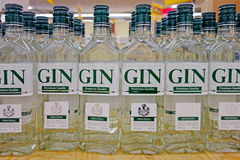Bottle of gin in the supermarket Royalty Free Stock Photography