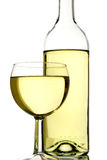 Bottle and glass. Of white wine royalty free stock image