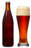 Bottle and glass with beer Royalty Free Stock Image