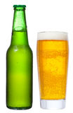 Bottle and glass with beer Royalty Free Stock Photo