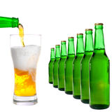 Bottle and glass with beer Royalty Free Stock Images
