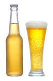 Bottle and glass with beer Stock Images