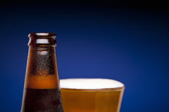 Bottle and glass of beer Stock Photography