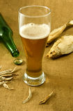 Bottle, a glass of beer and dry fish closeup Royalty Free Stock Image