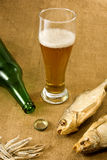 Bottle, a glass of beer and dry fish Stock Photo