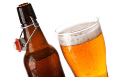 Bottle and glass of beer Royalty Free Stock Photo