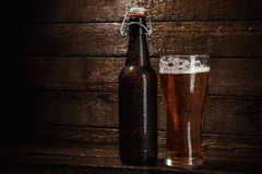 Bottle and glass of beer Stock Images