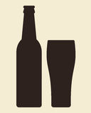 Bottle and glass of beer vector illustration