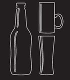 Bottle and glass of beer - vector illustration Royalty Free Stock Photography