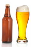 Bottle and glass of beer on a white background Stock Photography