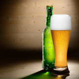 Bottle and glass of beer Stock Image