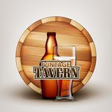 Bottle And Glass Of Beer With Wooden Barrel Vector. Brown Flask And Cup With Bubble Alcoholic Beverage And Retro Barrel On Background Depicted On Vintage royalty free illustration