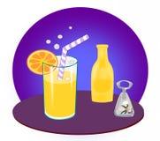 Bottle, Glass and Bottle Opener Royalty Free Stock Image