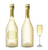Bottle and glass of champagne Stock Photos