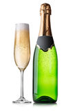 Bottle and glass of champagne Royalty Free Stock Images