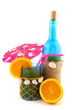 Bottle and glass with cocktail Royalty Free Stock Image