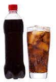 Bottle and glass with cola Royalty Free Stock Photography
