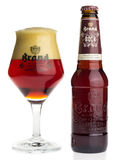 Bottle and glass of Dutch Brand Dubbel Bock  beer Stock Image